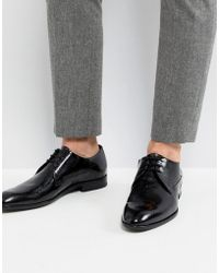 HUGO - Derby Patent Leather Shoes In Black - Lyst