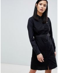 Fred Perry - Black Shirt Dress With Contrast Stitching - Lyst