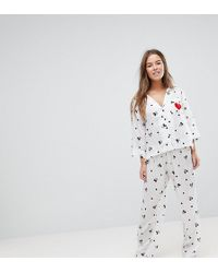 ASOS - Mickey Embroidered Heart Trouser And Shirt Pyjama Set - Lyst