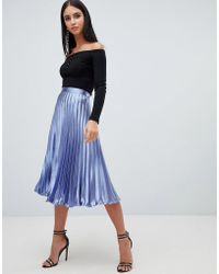 Missguided - Hammered Satin Pleated Midi Skirt In Blue - Lyst