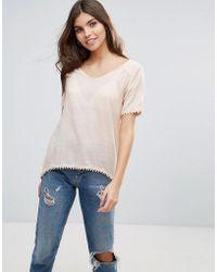 Vila - Split Back T-shirt - Lyst