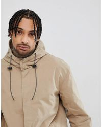 ASOS - Hooded Light Weight Parka In Stone - Lyst