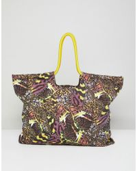 Monki - Butterfly Print Beach Bag - Lyst