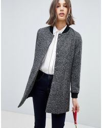 Vero Moda - Longline Wool Coat With Rib Trims - Lyst