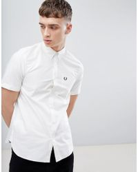 Fred Perry - Classic Oxford Short Sleeve Shirt In White - Lyst