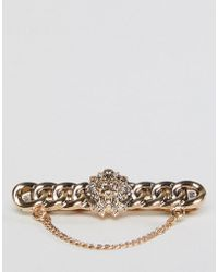 ASOS - Tie Bar With Lion Head Design And Chain In Burnished Gold - Lyst
