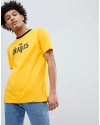 Pretty Green - X The Beatles Logo T-shirt In Yellow - Lyst