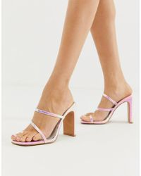 0774f203263 ASOS - Heckle Toe Loop Barely There Block Heeled Sandals In Iridescent Croc  - Lyst