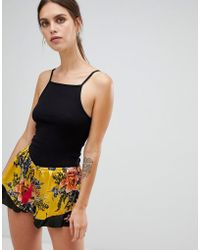 River Island - Satin Pyjama Shorts In Yellow - Lyst