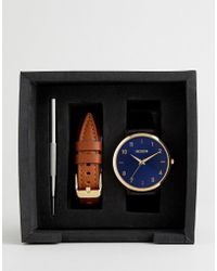 Nixon - A1230 Arrow Leather Interchangeable Strap Watch Gift Set - Lyst