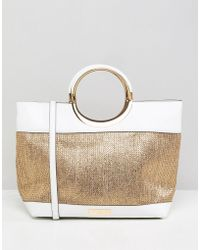 Carvela Kurt Geiger - Circle Handle Raffia Tote Bag - Lyst