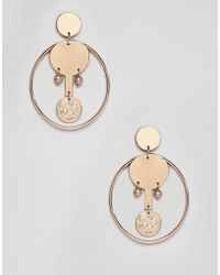 Mango - Coin And Hoop Earrings In Gold - Lyst