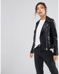 Warehouse - Leather Look Biker Jacket - Lyst