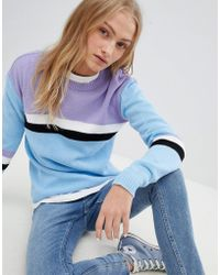 Daisy Street - Relaxed Jumper With Colour Block Stripe - Lyst
