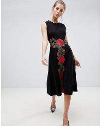 Traffic People - Shift Midi Dress With Rose Embroidery - Lyst