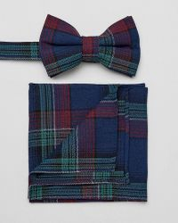 ASOS - Checked Bow Tie And Pocket Square - Lyst