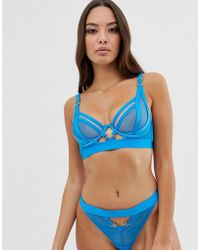 Ann Summers - Alina Mesh And Strapping Plunge Bra In Blue - Lyst