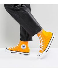 Converse - Chuck Taylor All Star Hi Trainers In Orange - Lyst