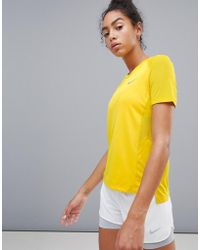 Nike - Miler T-shirt In Yellow - Lyst