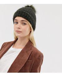 9fff45f64c4c7 New Look - Fluffy Faux Fur Pom Pom Bobble Hat In Khaki - Lyst