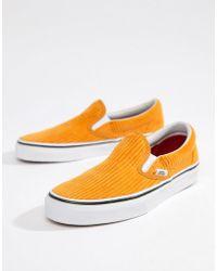 Vans - Yellow Corduroy Classic Slip-on Trainers - Lyst