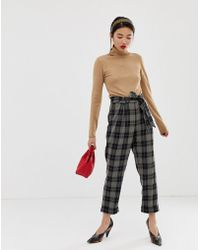Warehouse - Tapered Trousers In Check - Lyst