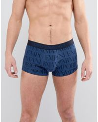 Emporio Armani - All Over Logo Trunk In Navy - Lyst