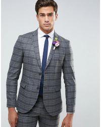 Jack & Jones - Premium Slim Wedding Suit Jacket In Check - Lyst