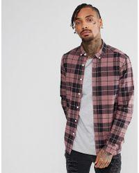 ASOS - Design Stretch Slim Poplin Check Shirt In Pink - Lyst