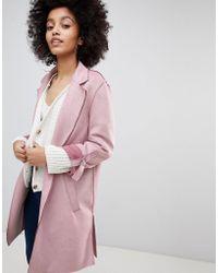 Bershka - Suedette Soft Tailored Coat In Pink - Lyst
