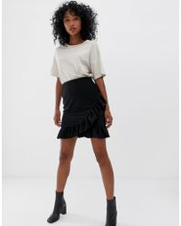 Pieces - Liza Frill Mini Skirt - Lyst