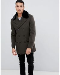 French Connection - Double Breasted Wool Rich Pea Coat With Faux Fur Collar - Lyst