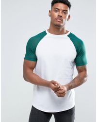 ASOS | T-shirt With Contrast Mesh Sleeves In Green | Lyst