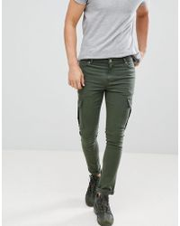 ASOS - Super Skinny Jeans In Green With Cargo Pockets - Lyst