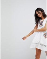 Hazel - Embroidery Sleeveless Summer Dress - Lyst