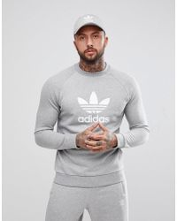 adidas Originals Adicolor Trefoil Logo Sweat In Grey Cy4573 - Gray