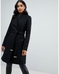 e9fccb979b2d Lipsy - Smart Tailored Coat With Belt In Black - Lyst