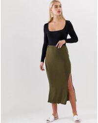 d7630c2db Vero Moda - Green Rib Maxi Skirt With Lettuce Hem - Lyst