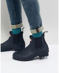 HUNTER - Original Chelsea Boots In Navy - Lyst