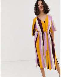 sports shoes 32647 a5759 Native Youth - V Neck Midi Dress With Tie Waist In Bold Stripe - Lyst