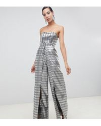 ASOS - Asos Design Tall Structured Bandeau Jumpsuit With Split Leg In Silver Jacquard - Lyst