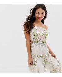 037d62fd3ef81b ASOS - Asos Design Petite Mini Dress In Floral Sequin With Flippy Skirt -  Lyst