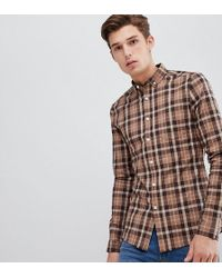 ASOS - Tall Skinny Check Shirt In Brown - Lyst