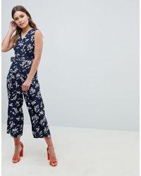 Yumi' - Valentine Bird Print Jumpsuit With Tie Belt - Lyst
