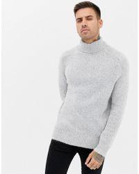 Bershka - Turtleneck Sweater In Gray - Lyst