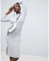 Vero Moda - Knitted Midi Jumper Dress In Grey - Lyst