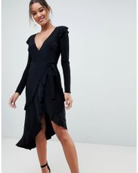 ASOS - Frill Detail Wrap Dress - Lyst