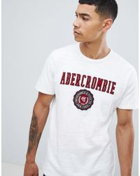Abercrombie & Fitch - Tech Elevated Applique Logo T-shirt In White - Lyst