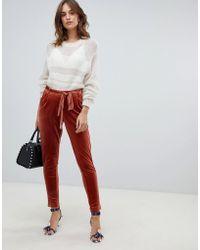 Vila - Velvet Tailored Pants - Lyst