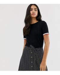 Pimkie - T-shirt With Frill Sleeve In Black - Lyst